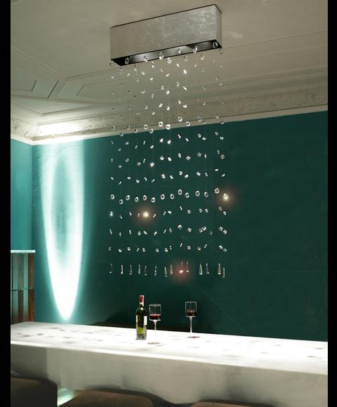 Leuchte mit schwebendenKristallen