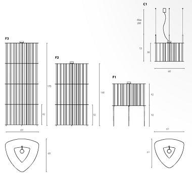 Maße der Design-Bücherleuchte in Messing oder Kupfer
