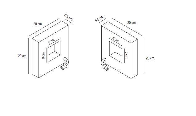 Abmessungen quadratische Design Wandlampe mit Schalter
