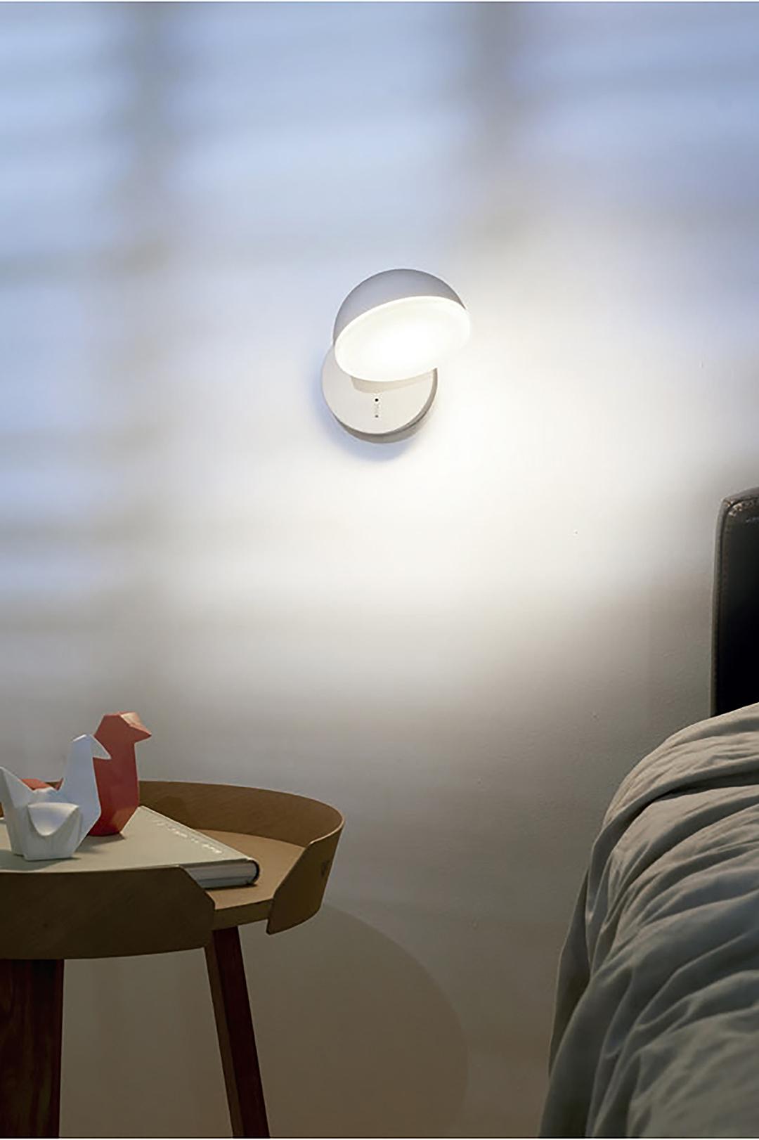 Halbrunde Wandlampe mit Schalter weiß matt in Funktion
