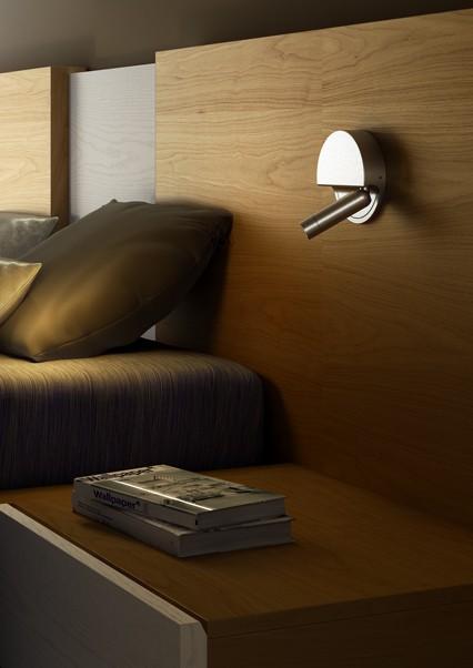 Aufbau LED Wandstrahler am Hotelbett Alu schaltet beim einklappen
