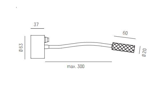 Aufbau Wandspot mit Schalter und fokussierbarem Lichtkegel