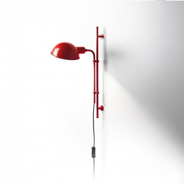 Hoehenverstellbare Wandlampe rot mit Schalter