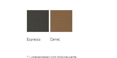 Leder Ausführung Espresso und Camel für flexible Wandlampe mit Schalter