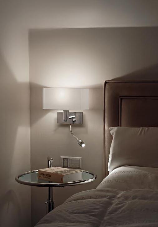 stoffschirm mit wandlampen und schalter f r eine angenehme atmosph re. Black Bedroom Furniture Sets. Home Design Ideas