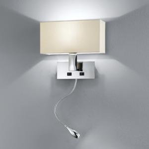 Stoffschirm mit Wandlampen und Schalter
