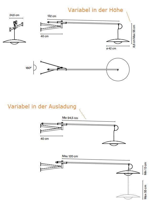 Variabel verstellbare Wandlampe als Tischbeleuchtung