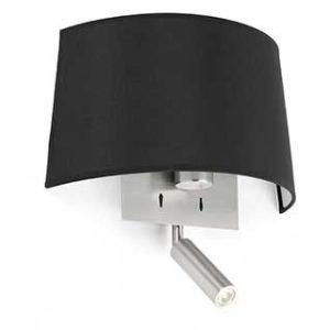 schwarze Faro Volta Spot und Wandlampe mit Schalter