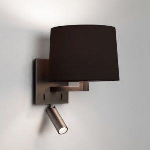 Bronze Wandlampe mit schwarzem Schirm und Lesespot