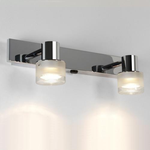 Chrom Doppel Wandlampe mit Schalter
