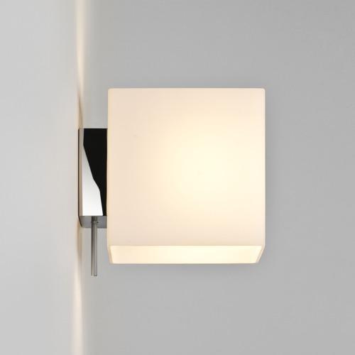 Quadratische Opalglas Wandlampe mit Schalter