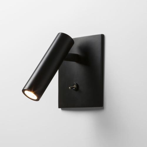Schwarze flache halbeinbau LED Spot Wandleuchte mit Schalter
