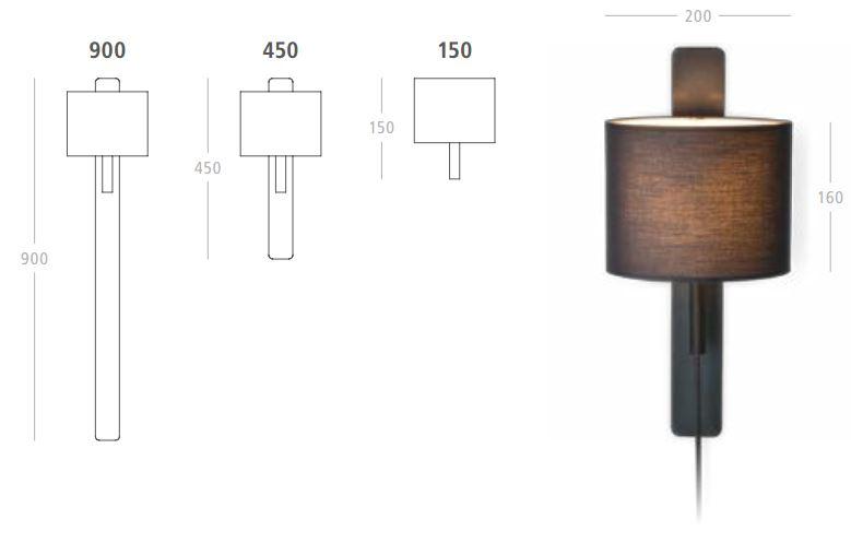 Steng Wandleuchte mit Schalter im Kabel in verschiedenen Ausführungen