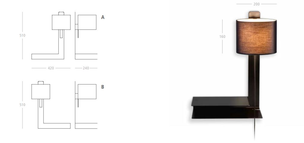 steng loft stripe wandlampe mit schalter und ablage. Black Bedroom Furniture Sets. Home Design Ideas