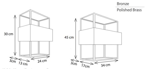 2 Größen der gradlinigen Bronze Landhaus Wandleuchte