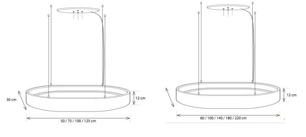 Billiardtisch individuell beleuchten oval in verschiedenen Größen