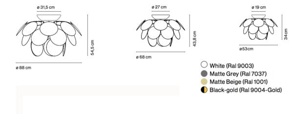 Blütenförmige Deckenleuchte Maße