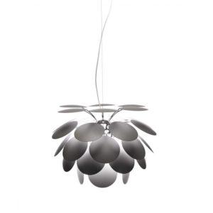 Blütenförmige hängeleuchte grau