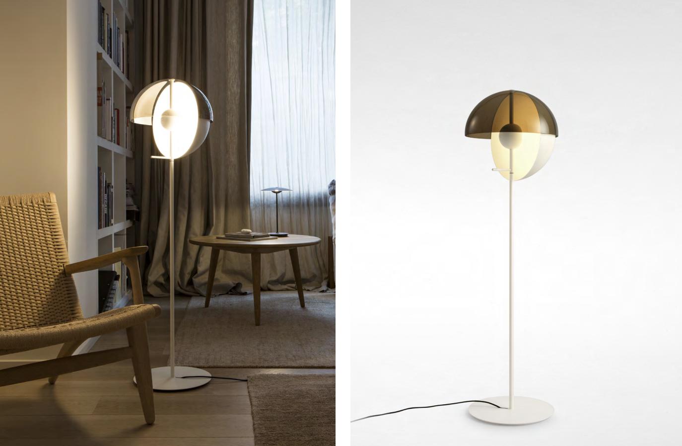 Formschöne Designer Stehleuchte mit weichem Lichtwurf