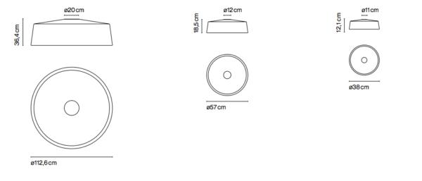 Maße der runden modernen Flurleuchte