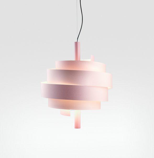 Spiralenförmige Hängeleuchte Pink