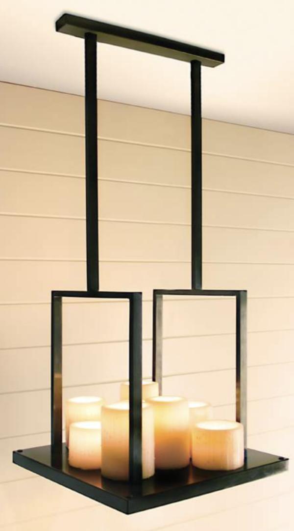 Harmonische Decken Hängeleuchte über Esstisch Kerzenoptik Bronze