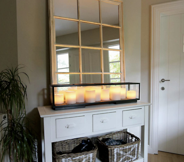 Harmonische Sideboard Tischleuchte Kerzenoptik Bronze