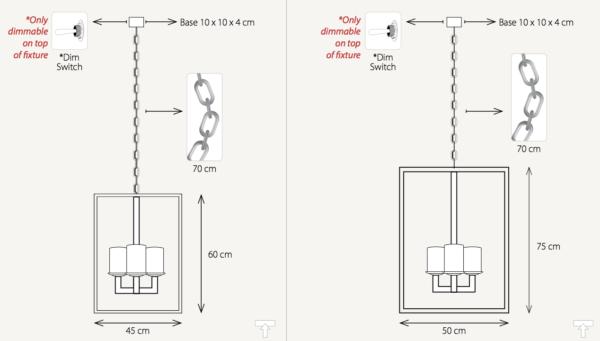 Maße der harmonischen Decken Hängelampe chrom mit Schalter