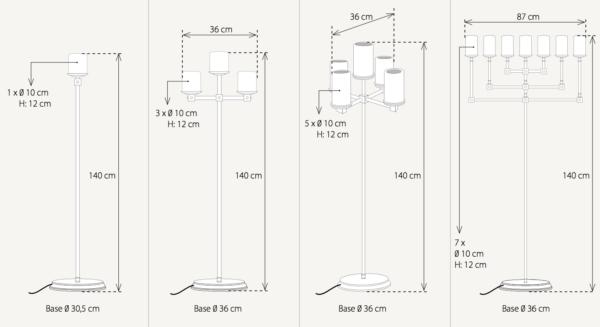 Maße der harmonischen Stehleuchte Kerzenoptik